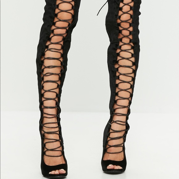 cb3c52e425f76 Missguided Shoes | Lace Up Thigh High Heels | Poshmark